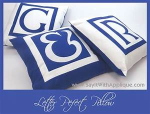 Letter perfect pillow using prefused laser cut fabric for Laser cut fabric letters