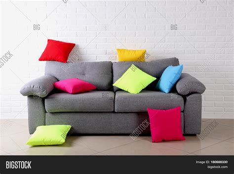 Colorful Sofa Pillows by Colorful Pillows On Grey Sofa On Image Photo Bigstock