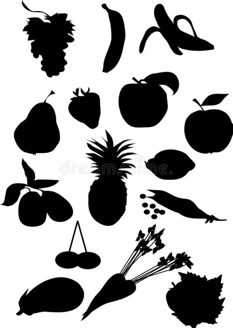 Fruit And Vegetable Silhouette Stock Vector - Illustration of eggplant, healthy: 4079407