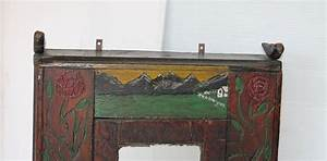 19th century hand carved and painted folk art hanging wall With kitchen cabinets lowes with hand painted metal wall art