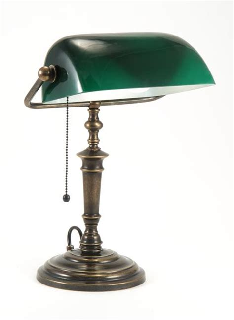 Bankers L With Green Shade Solid Brass by Classic Bankers L With Glass Green Shade Is Made