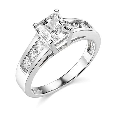 2 ct wedding rings 2 5 ct princess cut engagement wedding ring channel setting solid 14k white gold ebay