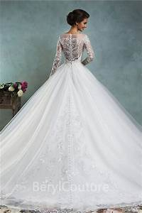 Faisata illusion neckline two piece wedding dress boho for Long sleeve ball gown wedding dress