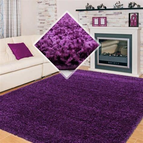tapis shaggy pile longue couleur unique violet 140x140 cm