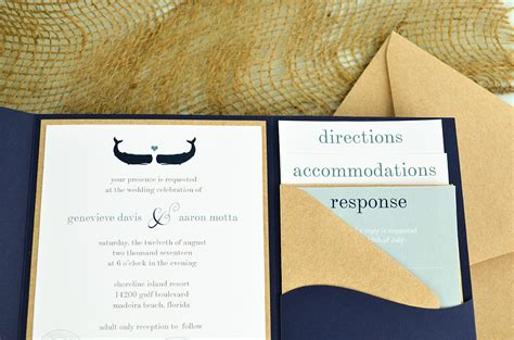 nautical quot waves quot diy pocket invitation cards