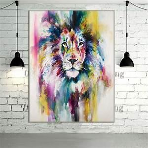 Animaux Décoration Intérieure : nouveau peint la main moderne couleur lion animaux peinture l 39 huile photo sur toile mur art ~ Teatrodelosmanantiales.com Idées de Décoration