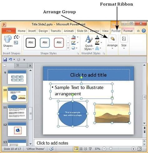 powerpoint ungroup objects arrange ribbon drawing format go step under menu