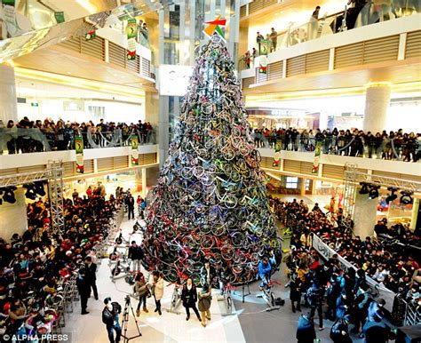 christmas decorations in wandswarth shopping centre london tree made of bicycles looking for something a different this festive season