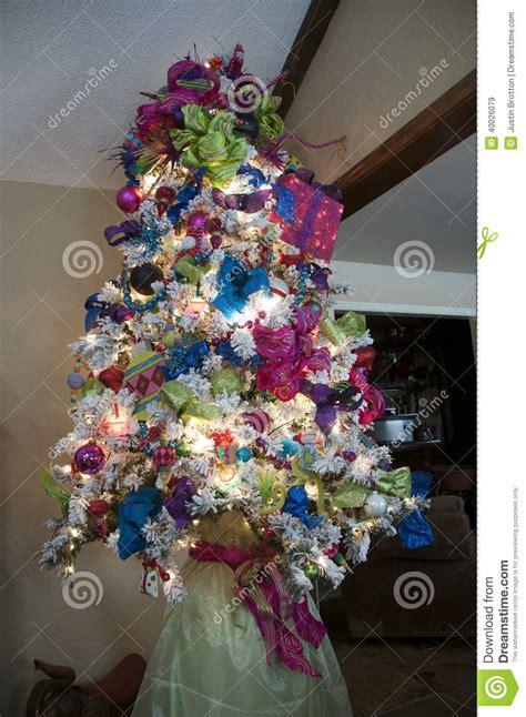 white christmas tree stock photo image