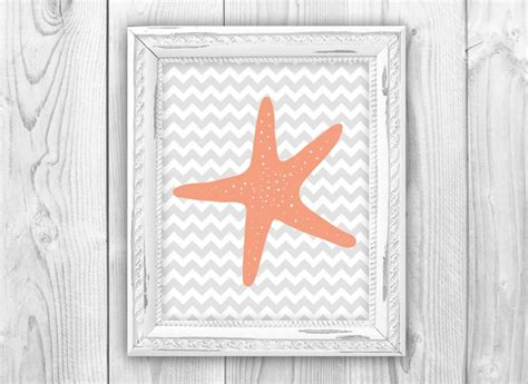 chevron starfish print bathroom house decor coral gray