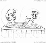 Tub Cartoon Couple Outline Clip Illustration Toonaday Royalty Rf Coloring Template Clipart Line Pages Sketch 2021 sketch template