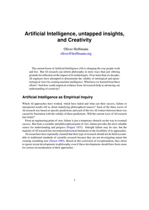 (PDF) Artificial Intelligence, untapped insights, and