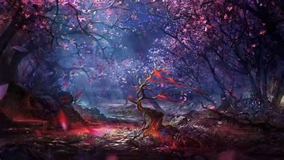 Fantasy Forest Digital Landscape Colorful Artwork Trees