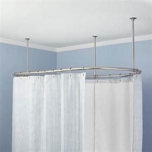 oval solid brass shower curtain rod bathroom With bathroom curtain poles