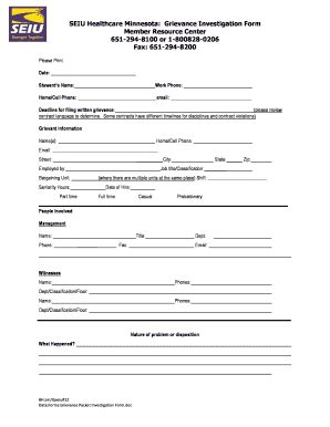 Seiu Grievance Form by Seiu Mn Healthcare Grievance Form Fill Online Printable