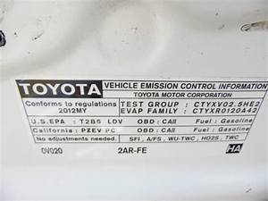 2012 Toyota Camry Le White 2 5l At Z18060