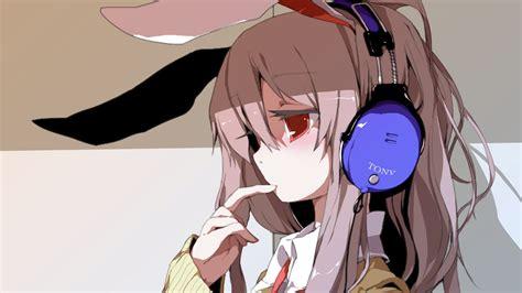 anime girl  crying headphone art retro wallpaper