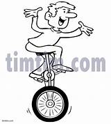 Unicycle Drawing Timtim Bw Sports Drawings Coloring Clipart sketch template