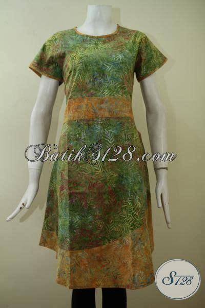 dress batik cap smoke lengan pendek  kombinasi warna