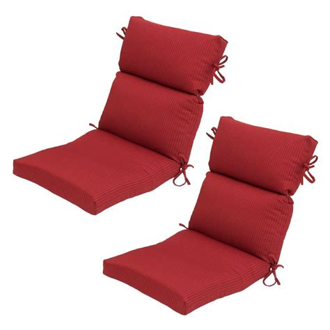 high back patio chair cushions home depot hton bay chili solid high back outdoor chair cushion 2