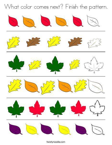 color   finish  pattern coloring page preschool patterns fall preschool