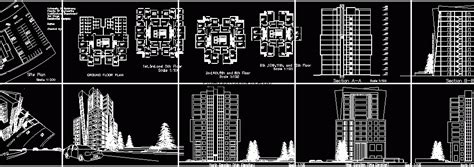 high rise residential building  dwg plan  autocad