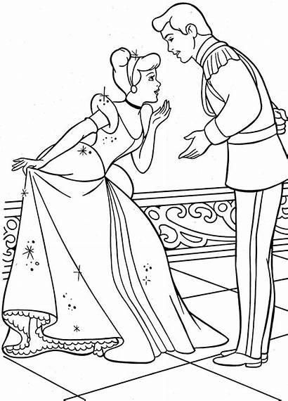 Cinderella Coloring Mewarnai Disney Princess Prince Gambar
