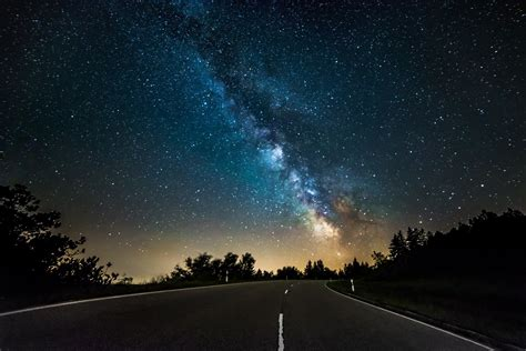 Milky Way Road Space Star Tree Silhouette Light Mystery