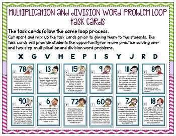 Division word problems on the other hand, generally are the harder ones among multiplication and for division word problems, we always start with identifying the dividend and the divisor. Multiplication and Division Word Problem Loop - 2 Loops Included!