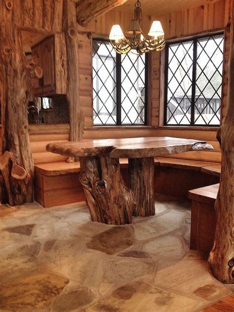 Cedar Log Breakfast Nook After   Rustic   Dining Room