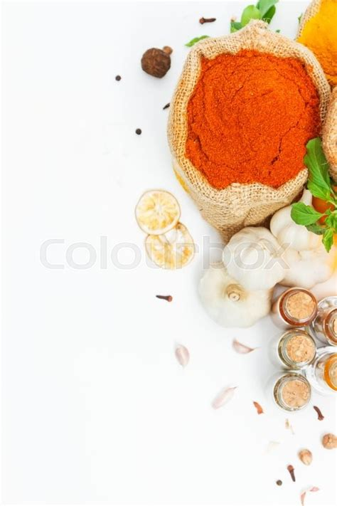 cooking background spices and herb for cooking background and design top view