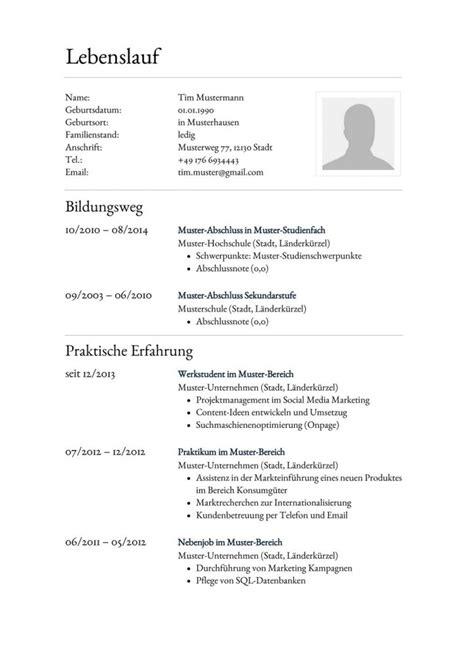 Lebenslauf Herunterladen by Konservative Lebenslauf Vorlage F 252 R Die Bewerbung Zum