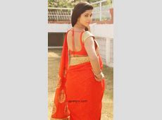 Actress Pavani backless in red saree photos