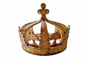 Large Antique Wooden Gilded Crown Omero Home