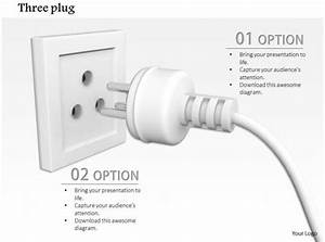 0814 Electrical White Plug With Three Pin Socket
