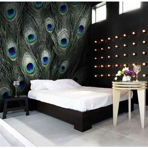 Blue Peacock Feather Pattern Wall Murals  Peacock Pattern