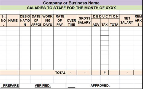 salary sheet report template  report templates