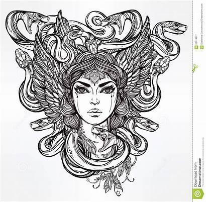 Greek Medusa Mythology Snake Female Artwork Drawing