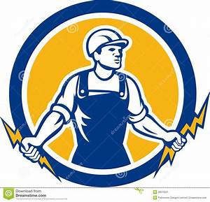 Electrician Holding Two Lightning Bolts Side Retro Stock ...