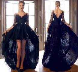 black cocktail dresses for weddings hi lo 2016 black prom dresses lace formal cocktail dresses bateau neck sleeves