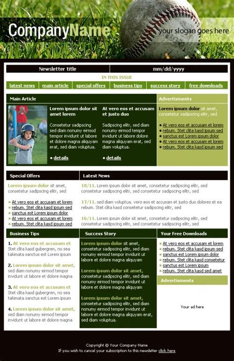 Team Newsletter Template by Free Newsletter Templates Downloads Baseball Club