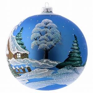 Boule De Noel Bleu : d cor no l boule sapin bleu avec paysage neige 150 mm vente en ligne sur holyart ~ Teatrodelosmanantiales.com Idées de Décoration