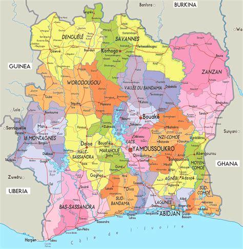 La Cote Divoire Carte D 233 Partements C 244 Te D Ivoire Carte Des D 233 Partements