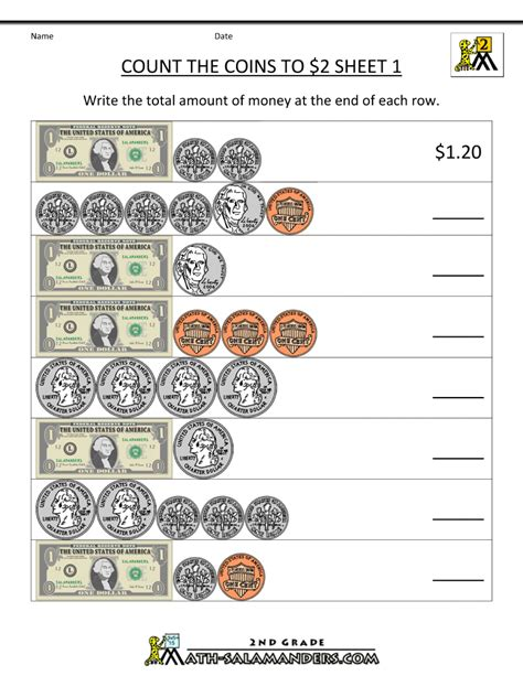 2nd grade math worksheets count the coins to 2 dollars 1