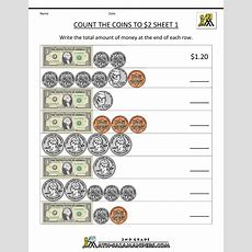 2nd Grade Math Worksheets Count The Coins To 2 Dollars 1  Delanye  2nd Grade Math Worksheets
