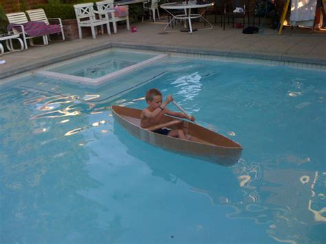 Life Size Moana Boat Diy by How To Make A Cardboard Canoe For Your Kids In The Pool 5