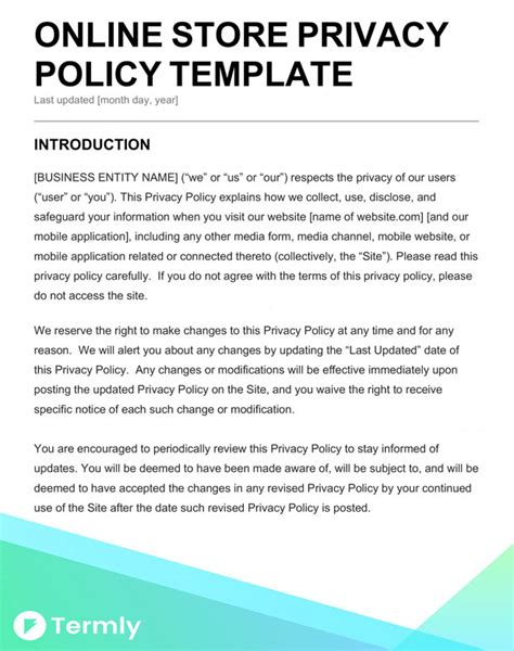 Free Privacy Policy Templates Website Mobile App