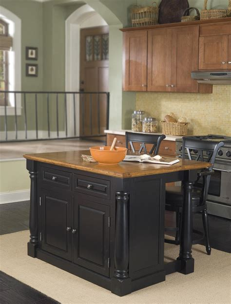 stools kitchen island home styles monarch kitchen island and two stools by oj commerce 5008 948 1 769 99