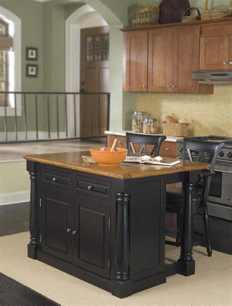 Monarch Kitchen Island and Two Stools   OJCommerce