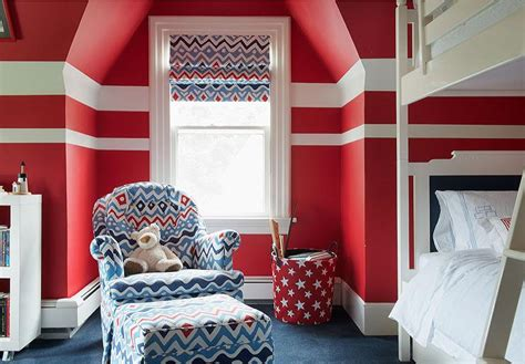 red  blue boy bedroom  white bunk beds